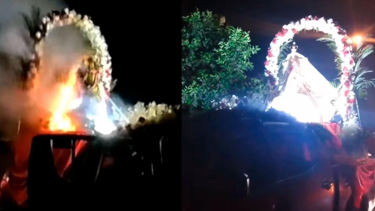 Perú: Imagen de la Virgen de la  advocación Merced se incendia en plena procesión