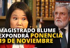 Keiko Fujimori: Magistrado Ernesto Blume expondrá ponencia 19 de noviembre [VIDEO]