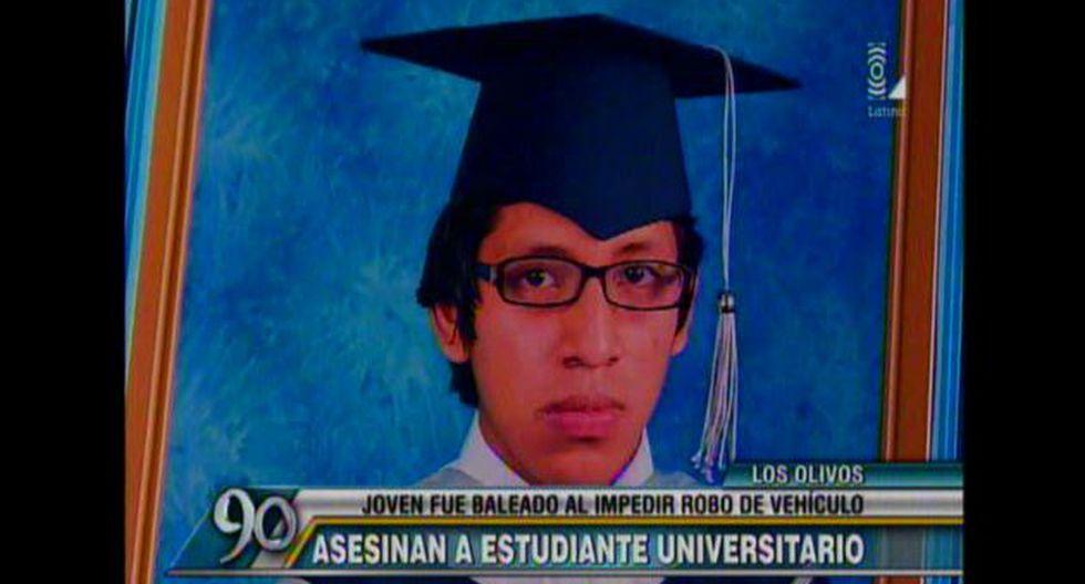 Erick Jorge Castro Velásquez fue asesinado de un balazo en la cabeza al intentar frustrar robo de camioneta. (Captura de TV)