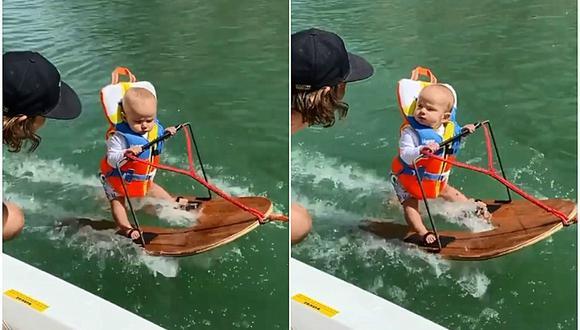 Rich, el bebé de seis meses que se volvió viral por hacer esquí acuático. (Foto: minditaggehumpherys / Instagram)