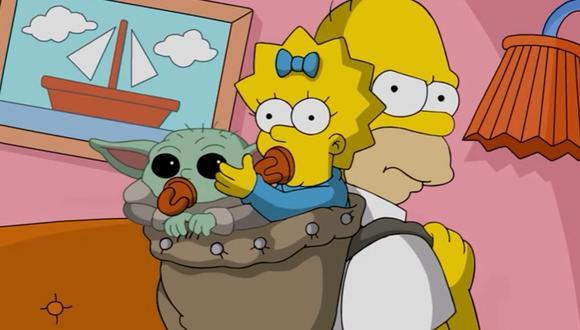 Homero secuestra a Baby Yoda en un corto por el Día del Inversor 2020 de Disney (Foto: Disney+)