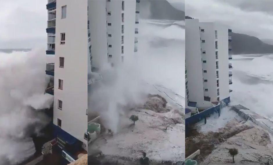 En la costa de Tacoronte, el oleaje rompió cristales de los dos primeros pisos de un edificio en Mesa del Mar construido al borde del mar. | Foto: Captura - Video