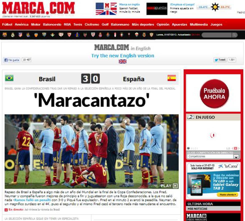 'Marca' destacó el triunfo de Brasil ante España a un año de la realización del Mundial. (Diario Marca de España)