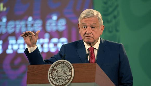 El presidente de México, Andrés Manuel López Obrador, durante una conferencia de prensa en el Palacio Nacional. (Photo by ALFREDO ESTRELLA / AFP)