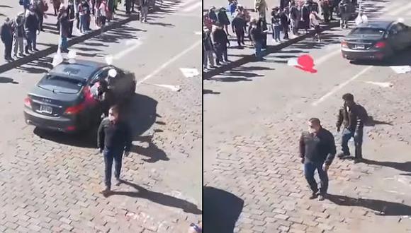 Caravana de Fuerza Popular en Cusco recibe agresiones en la Plaza de Armas [VIDEO]