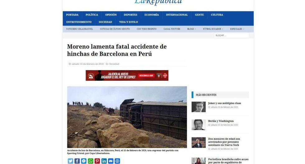 """""""Moreno lamenta fatal accidente de hinchas de Barcelona en Perú"""", tituló La República de Ecuador. (La República)."""