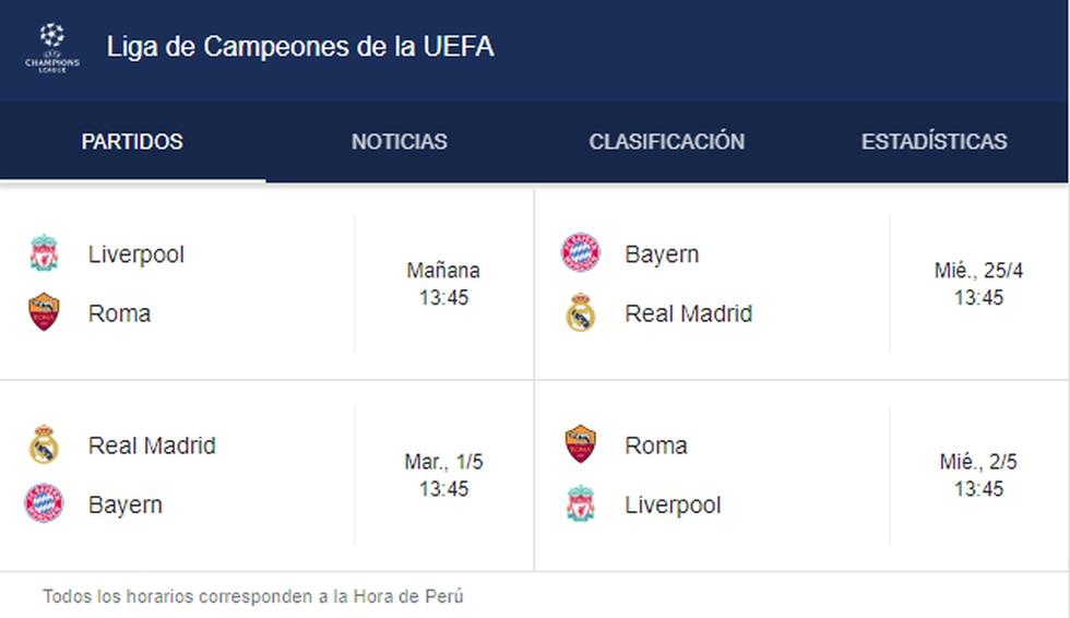 Partidos por las semifinales de la Champions League 2017/ 2018