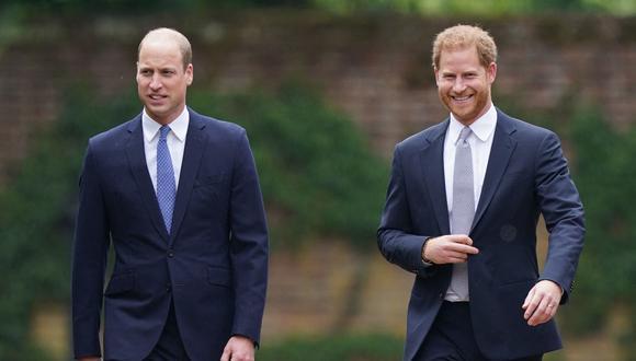 Los príncipes Guillermo de Cambridge y Enrique de Sussex durante el homenaje a su madre, la princesa Diana de Gales. (Foto: AFP)