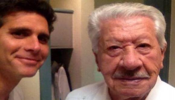 Christian Meier publicó un selfie junto a Ignacio López Tarso. (Twitter)
