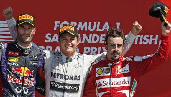 LOS MEJORES. Webber, Rosberg y Alonso subieron al podio. (AP)