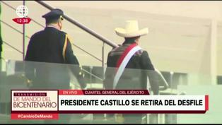 Presidente Castillo se retira de desfile militar tras fuerte sismo en Piura