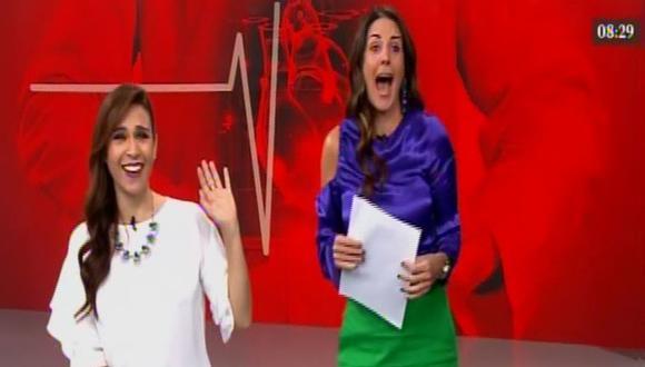 Verónica Linares y Rebeca Escribens la pasan bien durante el noticiero de América TV.