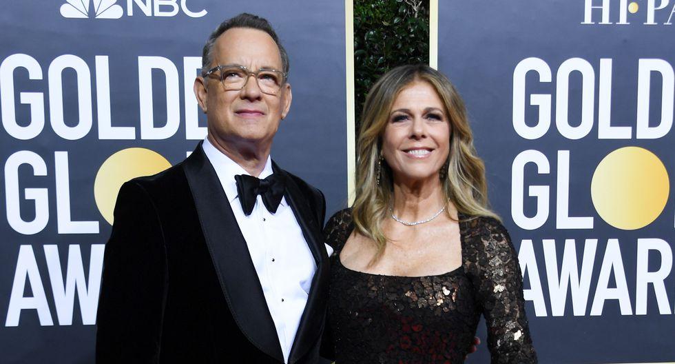 Tom Hanks y Rita Wilson en la alfombra roja de los Globos de Oro 2020. (Foto: AFP)