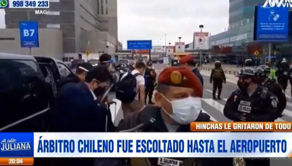 Julio Bascuñán llegó al aeropuerto en medio de un gran contingente policial. (ATV)