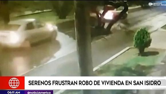 Agentes de serenazgo de San Isidro frustraron robo de vivienda en San Isidro. (Captura: América Noticias)