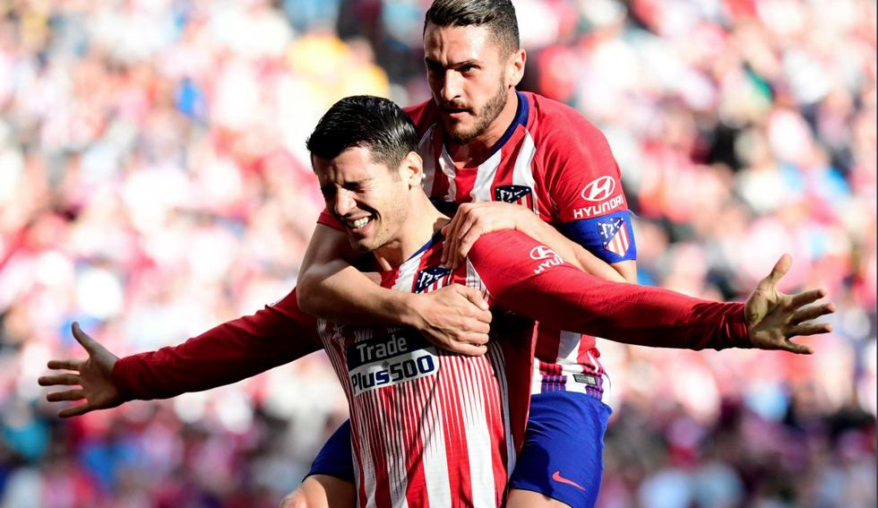 Álvaro Morata anota su primer gol con el Atlético de Madrid y le da la victoria en LaLiga. (AFP)