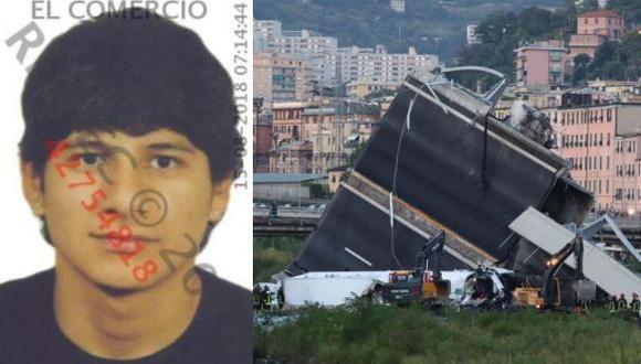 Carlos Erazo Trujillo, de 27 años, falleció en el derrumbe del puente de Génova, Italia. (Foto: Reniec/AFP)