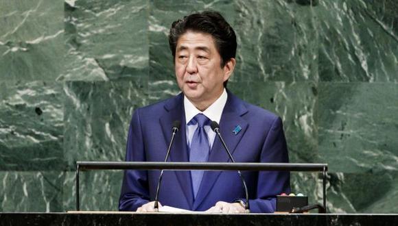 El primer ministro japonés, Shinzo Abe, durante su intervención en el Debate General de la Asamblea General de las Naciones Unidas. (Foto: EFE)