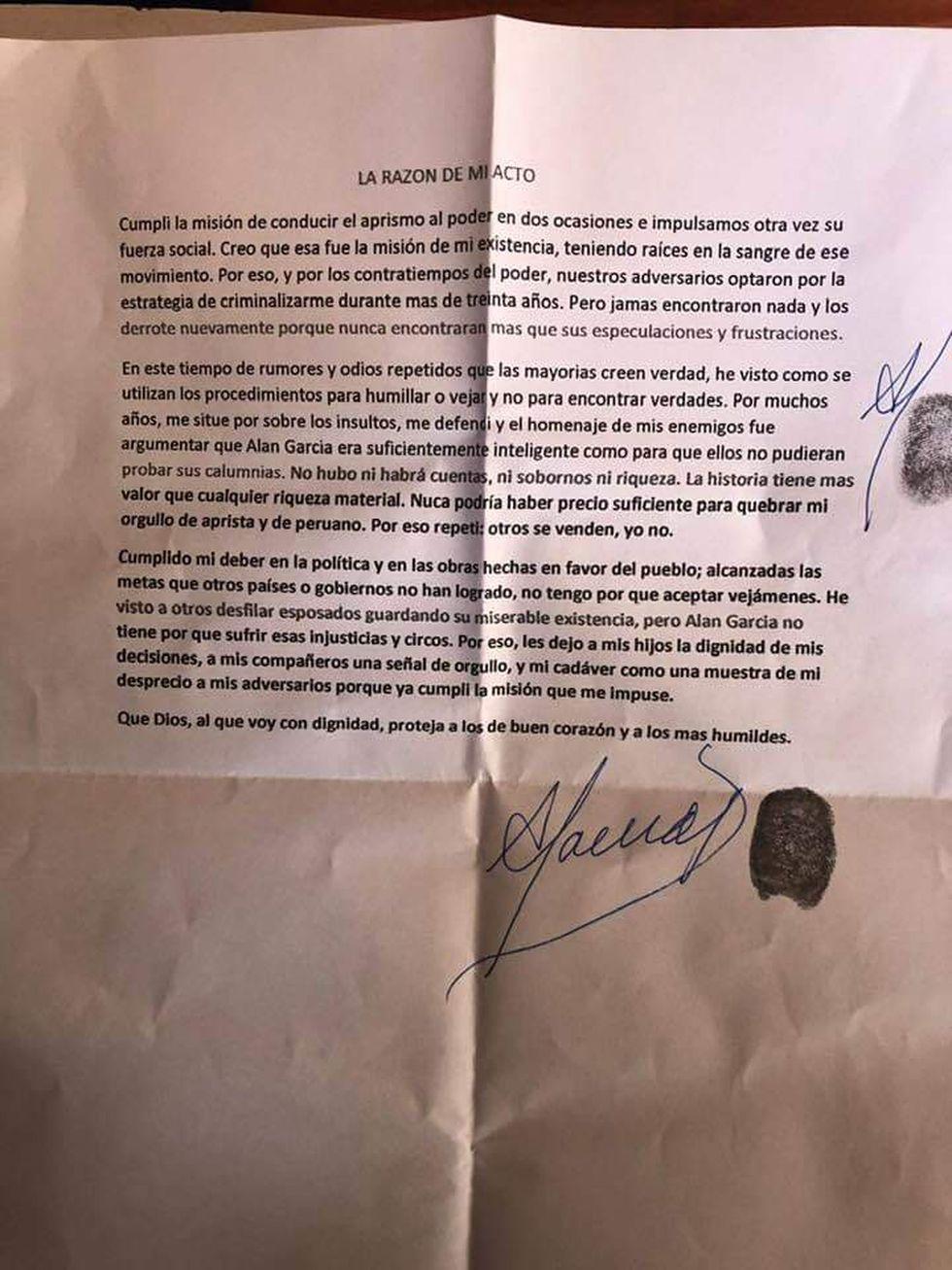 Carta de suicidio de Alan García