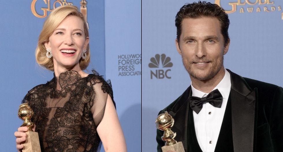 Matthew McConaughey y Cate Blanchet se llevaron el premio a Mejor Actor y Actriz, respectivamente. (AFP)