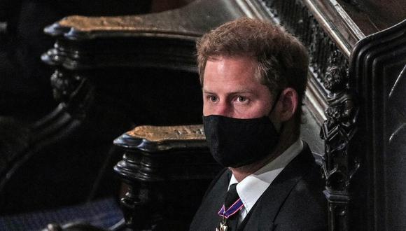 Enrique de Sussex durante el funeral de su abuelo, el duque Felipe de Edimburgo. (Foto: AFP)