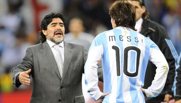 Lionel Messi fue dirigido por Diego Maradona en el Mundial Sudáfrica 2010. (Foto: AFP)