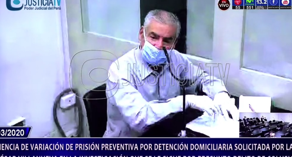 César Villanueva cumple prisión preventiva mientras es investigado por recibir presunto dinero ilícito de la empresa Odebrecht. (Captura Justicia TV)