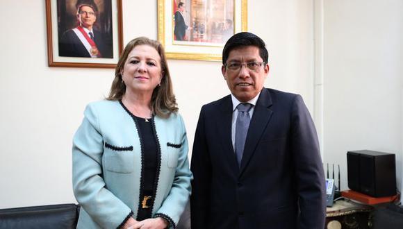 Vicente Zeballos se reunión con María Isabel León. (Foto: PCM)