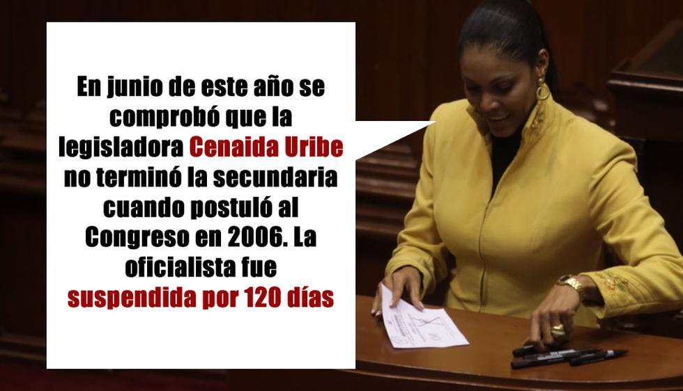 Cenaida Uribe no terminó el colegio cuando postuló al Congreso. (Perú21)