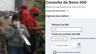 Bono 600 soles: Gobierno puso en funcionamiento la Plataforma de Consulta