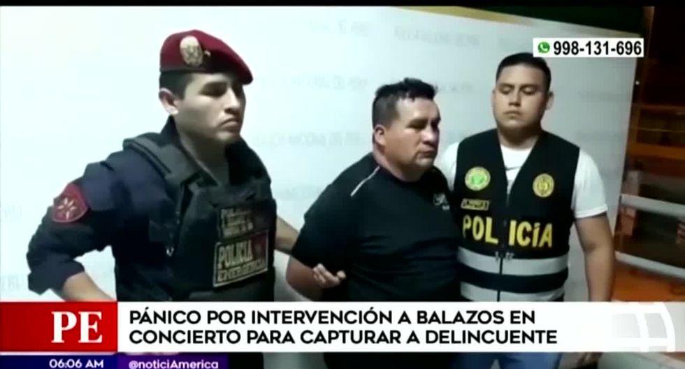 Los agentes realizaron disparos al aire durante la intervención para capturar a Teófilo Gutiérrez, quien se encontraba en un concierto en SJL. (Foto captura: América Noticias)