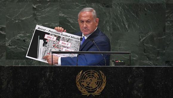 El primer ministro de Israel, Benjamin Netanyahu, se dirige a la Asamblea General en las Naciones Unidas. (Foto: AFP)