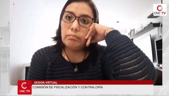 Karem Roca Luque participa de la Comisión de Fiscalización del Congreso para responder por los audios con el presidente Martín Vizcarra.