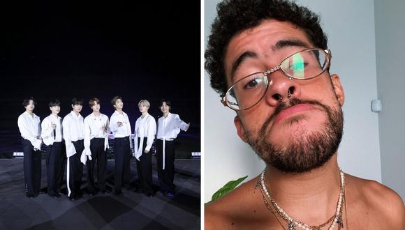 Bad Bunny señala que le gustaría tener una canción con la banda BTS. (American Broadcasting Companies, Inc. / AFP / Instagram / @badbunnypr)