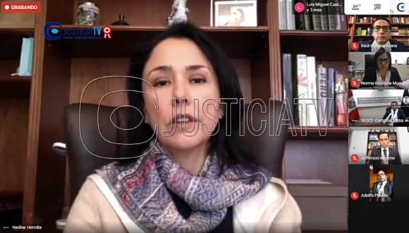 Nadine Heredia estuvo presente en la audiencia virtual. (Captura pantalla Justicia TV)