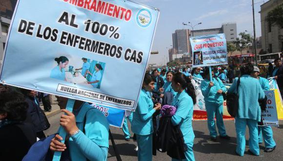 Enfermeras también reclaman mejoras. (Martín Pauca)