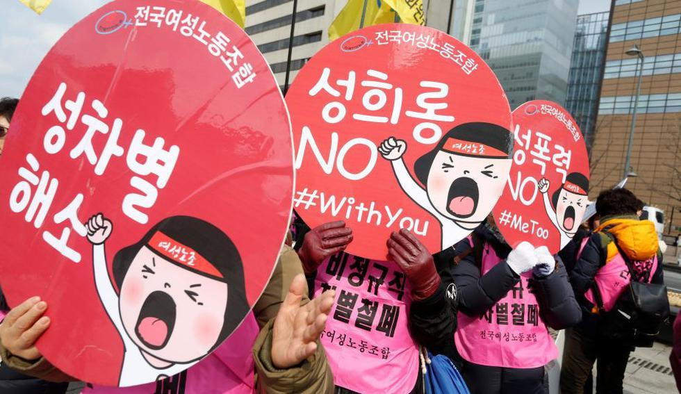 Mujeres coreanas participan en un acto de apoyo al Movimiento Me Too convocado por la Confederación de Sindicatos coincidiendo con el Día Internacional de la Mujer en Seúl, (EFE)