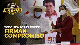Pedro Castillo y Verónika Mendoza firman compromiso