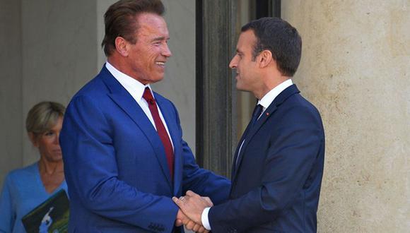 'Hasta la vista Trump': Arnold  Schwarzenegger y Emmanuel Macron juntos por el cambio climático. (Getty Images)