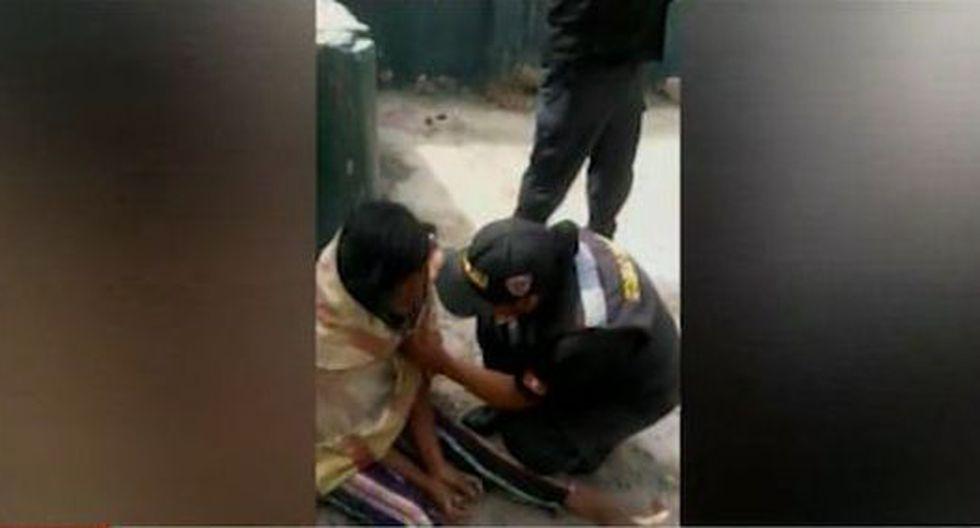 Lilian Gómez Changanaque fue rescatada por un grupo de agentes de serenazgo. (Captura: América Noticias)