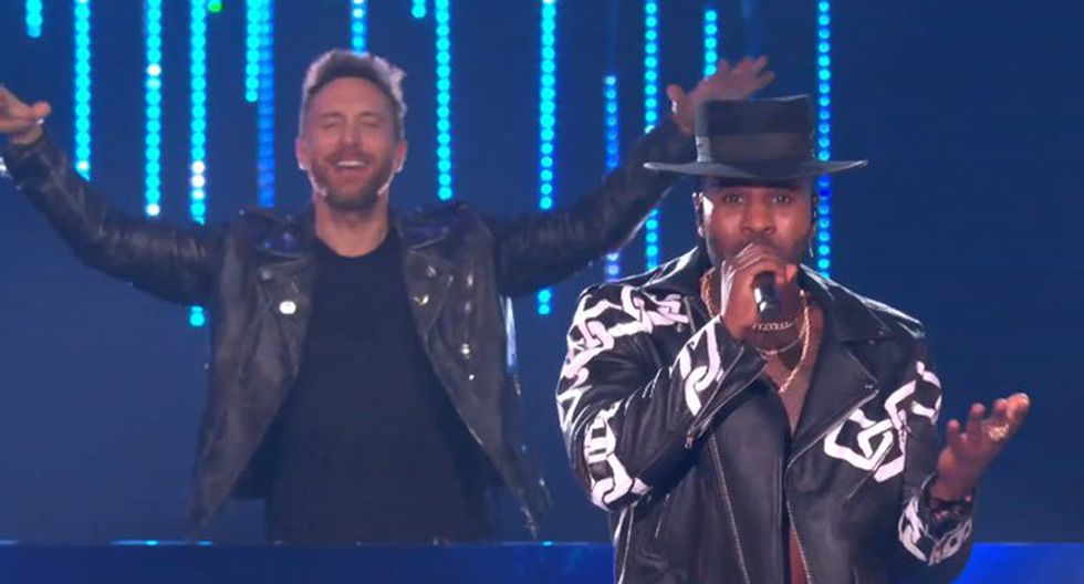 Jason Derulo y David Guetta deleitaron a todos los presentes en la ceremonia.  (Foto: MTV)