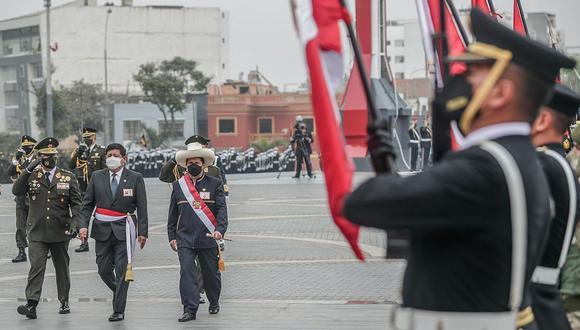 Pedro Castillo participó en el Día de las Fuerzas Armadas. (foto: Presidencia)