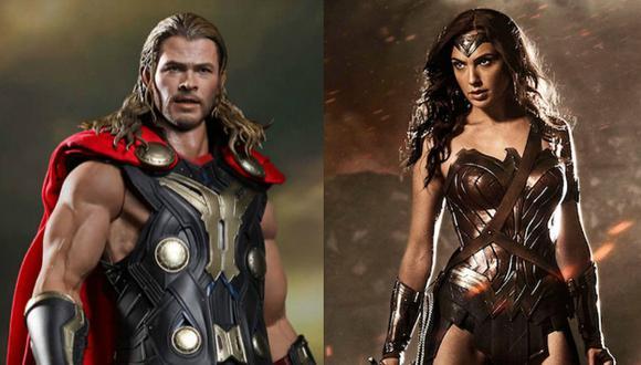 Chris Hemsworth cree que 'Wonder Woman' le ganaría a 'Thor' en una pelea. (Composición)