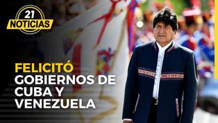 Evo Morales saludó y felicitó a los gobiernos de Cuba y Venezuela en evento de Perú Libre
