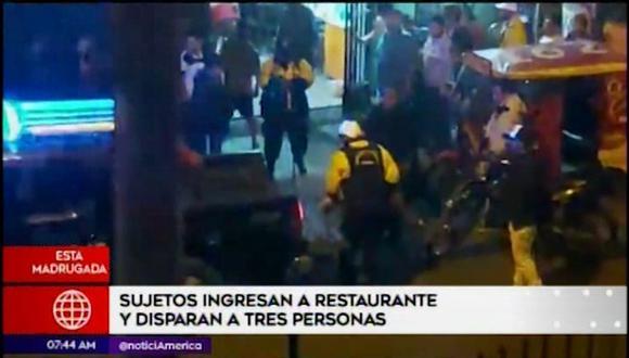 La Policía Nacional realiza las investigaciones correspondientes para dar con los perpetradores de los disparos. (América Tv)