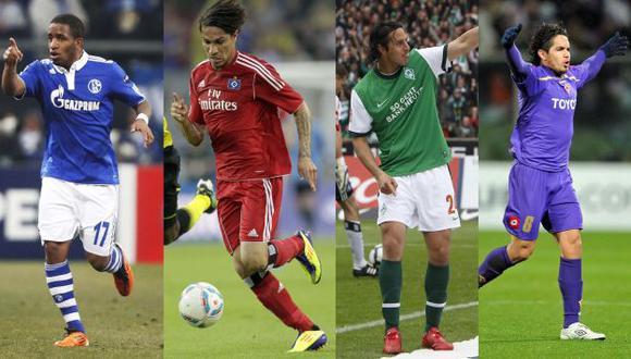 Farfán, Guerrero, Pizarro y Vargas continuarán en sus clubes, al menos hasta el fin de la temporada en Europa. (Agencias)