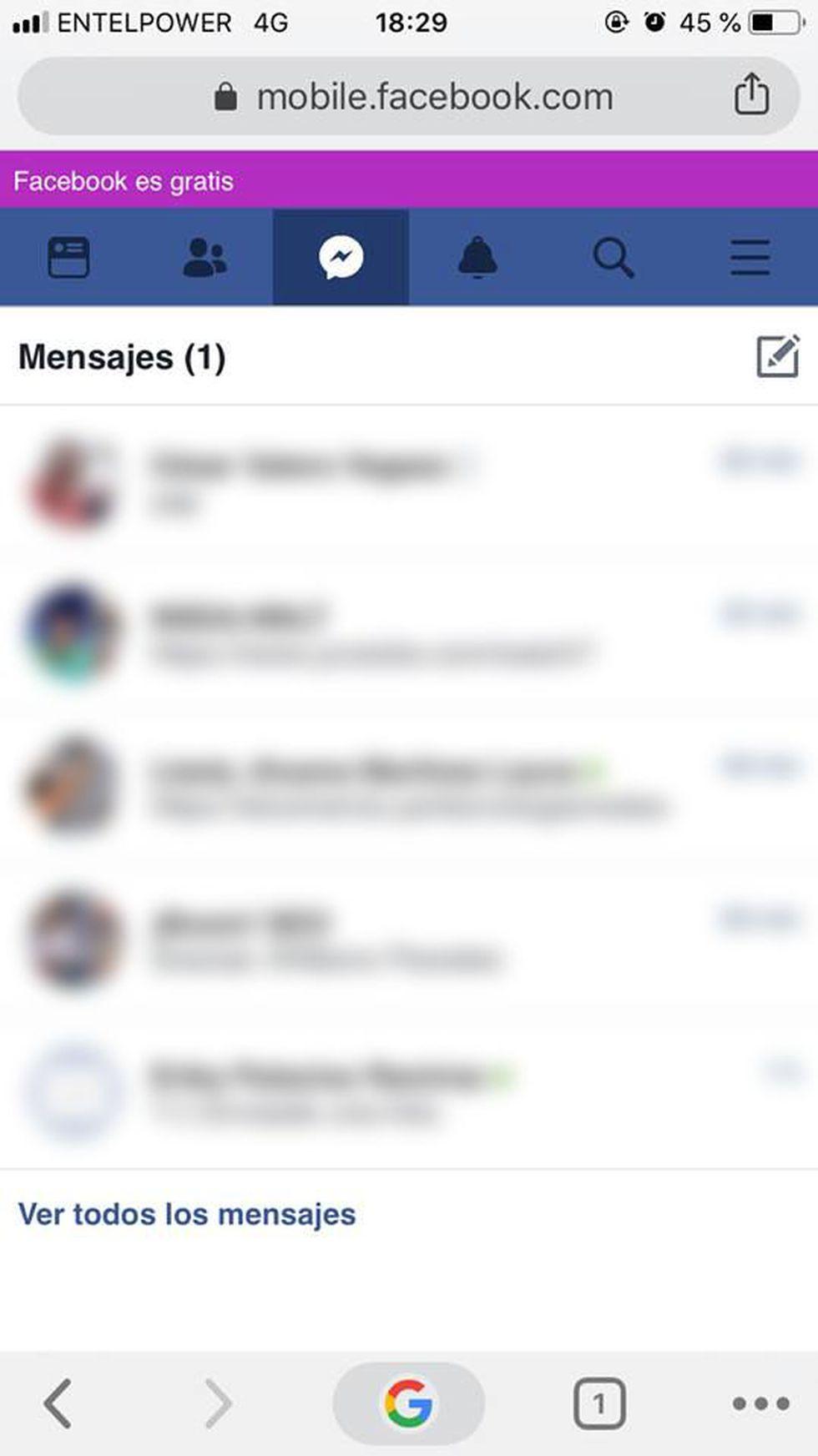 Con este truco podrás leer los mensajes de Facebook sin necesidad de usar la aplicación de FB Messenger. (Foto: Facebook)