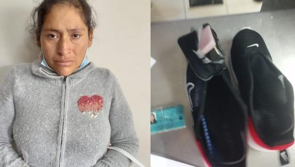 Arequipa: Agentes del INPE descubrieron a Yolanda Celina Cuty Luque (33), cuando pretendía ingresar al penal de varones de Socabaya con 200 gramos de droga camuflada en zapatillas. (Foto: PNP)