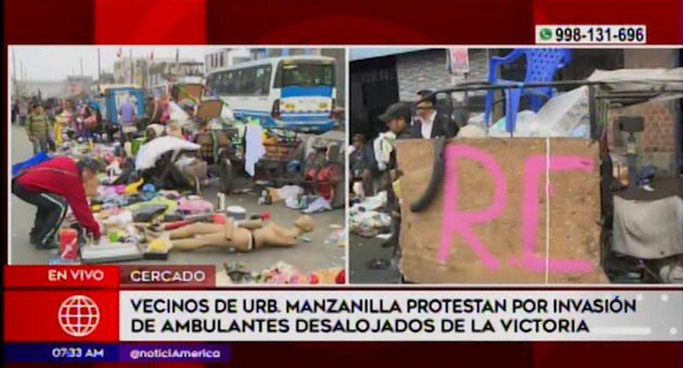 Ambulantes se encuentran ubicados de la cuadra 1 a la 5 de la Av. Nicolás Ayllón. (América Tv)