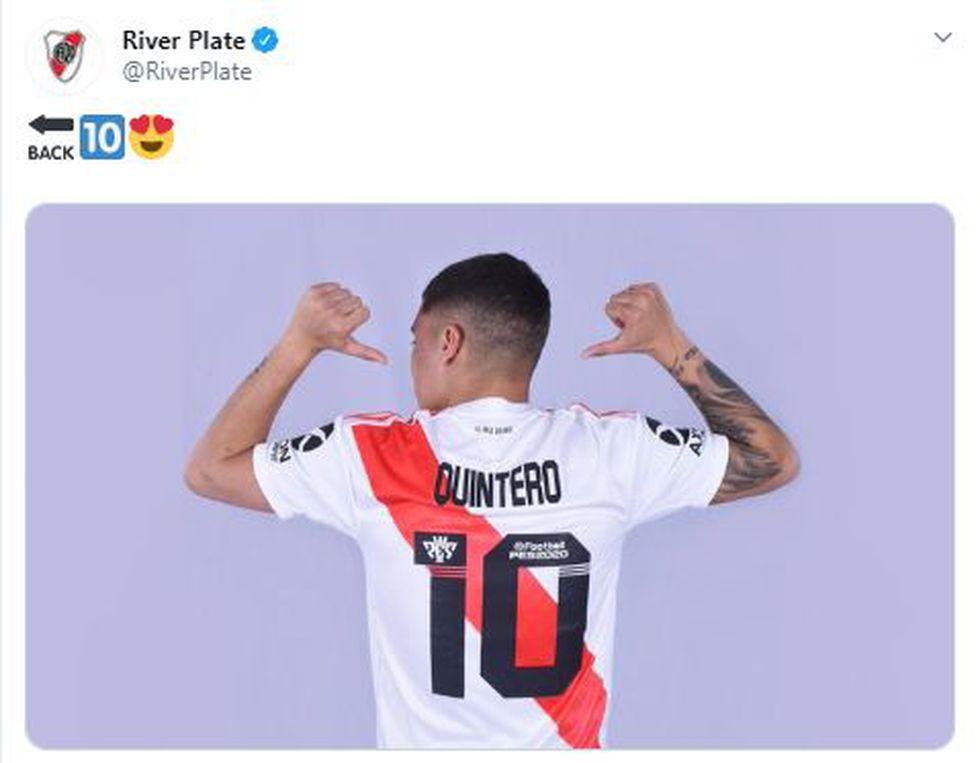 Juan Fernando Quintero reaparecerá en la Copa Argentina, en duelo ante Almagro. (Foto: River Plate)